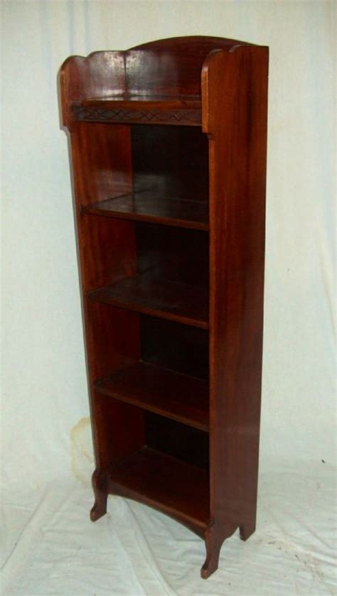 small narrow mahogany open bookcase 200607