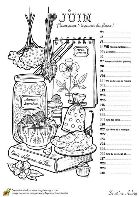Dessin à colorier mois de juin du calendrier des petites