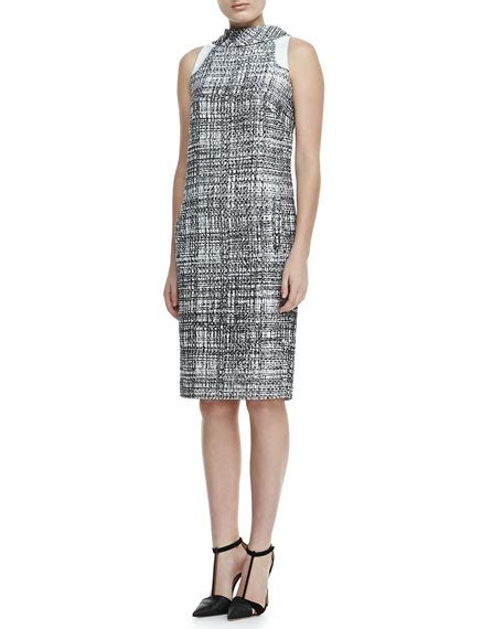 Grid Collar Dress carolina herrera sleeveless grid print collar dress black white