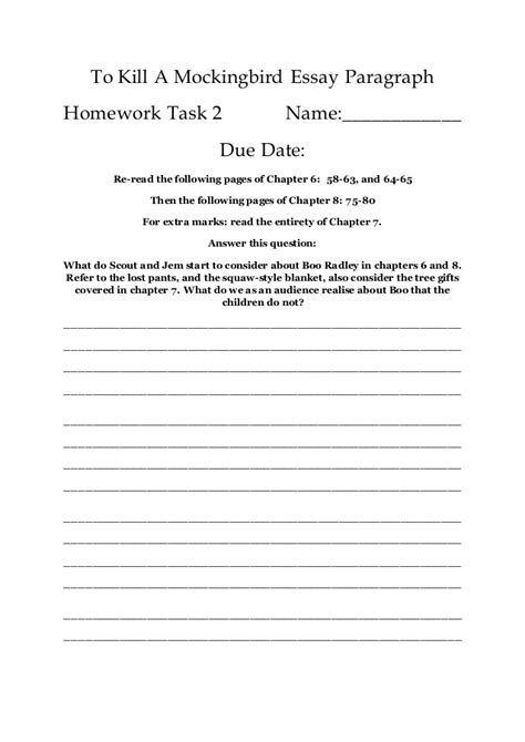 Boo Radley Essay by Mini Essay 2 To Kill A Mockingbird Essay Paragraph Homework Work