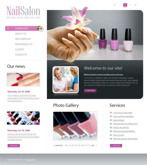 Nail Websites by Nail Salon Website Template Web Design Templates