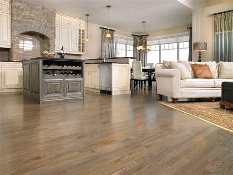 Vinyl flooring with oak kitchen cabinets, maple hardwood