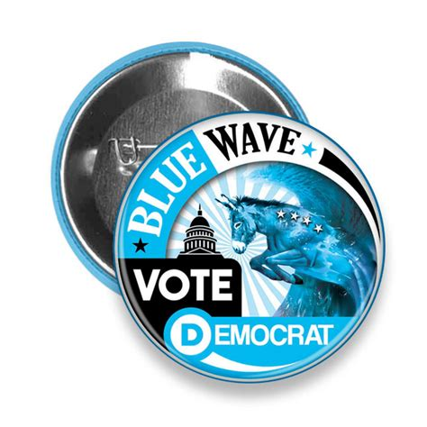 blue democrat blue wave vote democrat 2018 midterm elections pinback button left rights