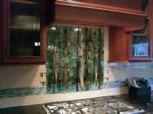fused glass backsplash kitchen backsplash fused glass abstract trees designer