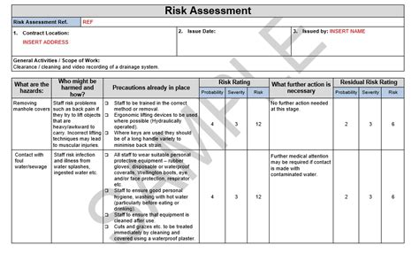 risk statement template risk method statement for drain cleaning seguro