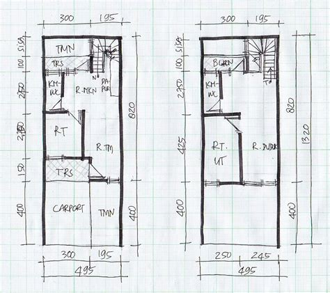 layout rumah lebar 5 meter rumah minimalis cat hitam putih terbaru denah rumah