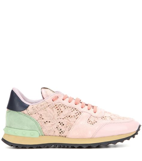 valentino sneakers valentino lace sneakers in pink lyst