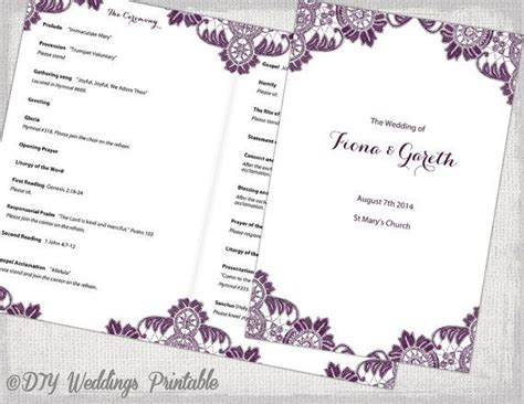 plum catholic wedding program template quot antique lace quot diy