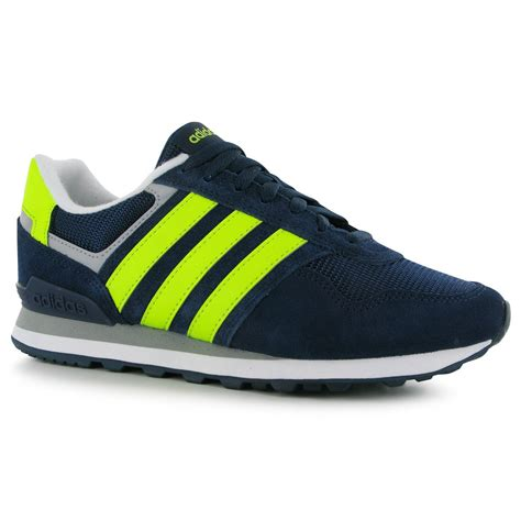 adidas 10k trainers mens navy yellow casual sneakers shoes footwear