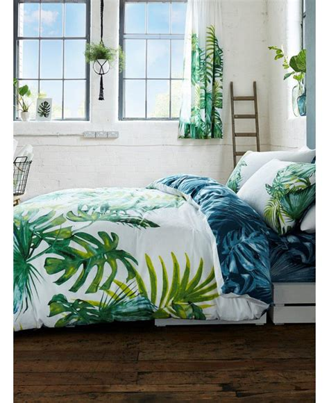 Bed Cover Motif 45 botanical palm leaves king size duvet cover and pillowcase set bedding