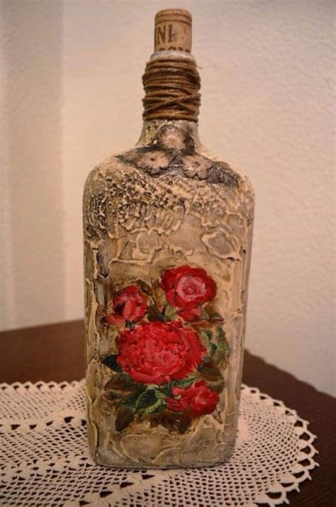 Decoupage Glass Bottles - how to decorate glass bottles with decoupage diy recycle
