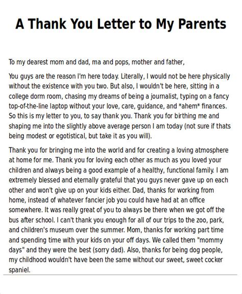 thank you letter to my parents on my birthday sle thank you note to parents 7 exles in word pdf