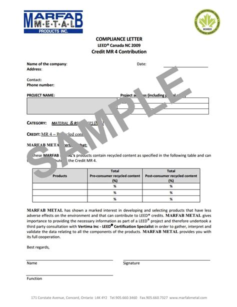 leed certification letter template leed 174 marfab metal products inc