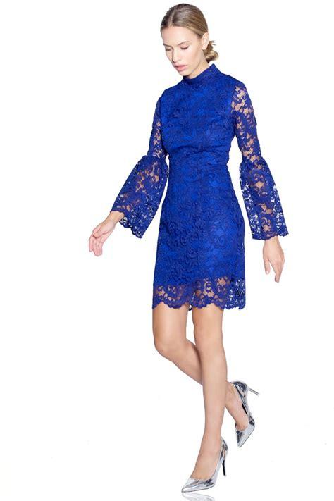 imagenes vestido negro con azul vestido azul encaje corto manga larga
