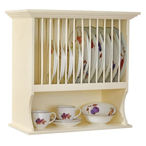 traditional buttermilk wall mounted plate rack shelf