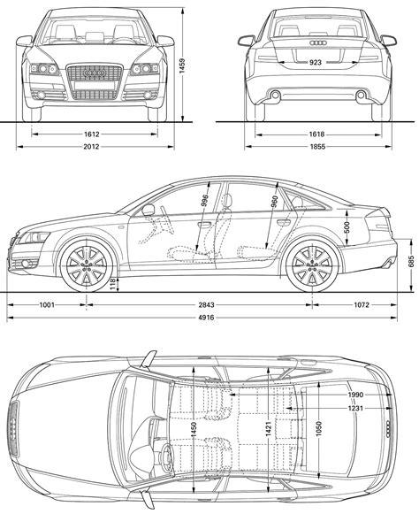 Audi A6 Abmessungen by 2008 Audi A6 C6 Sedan Blueprints Free Outlines