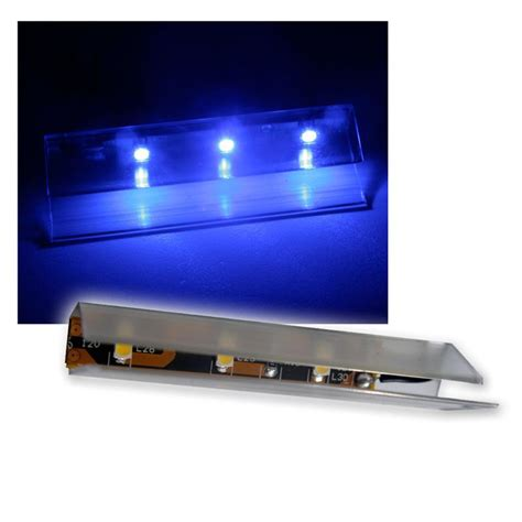 set of 6 led glass shelf lighting 66mm blue