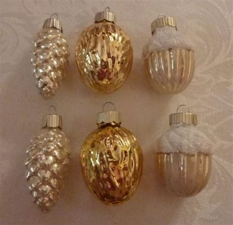 martha stewart white christmas ornaments lot of 6 glass mse martha stewart tree ornaments pinecone acorn walnut
