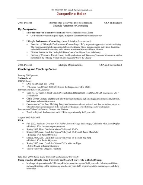 Softball Coach Sle Resume by Sporting Coach Resume 100 Images Coach Resume Template 6 Free Word Pdf Document Downloads