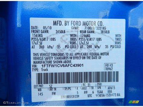 2010 ford f150 xlt supercrew color code photos gtcarlot