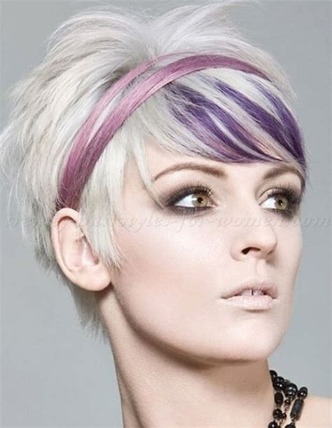 hairstyles with lavender highlights short blonde hair with purple highlights and headband
