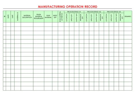 manufacturing operation record format samples word
