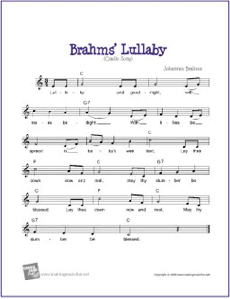 printable lullaby lyrics brahms lullaby free sheet music lead sheet