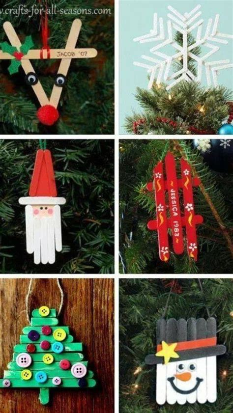 popsicle stick christmas ornaments children pinterest