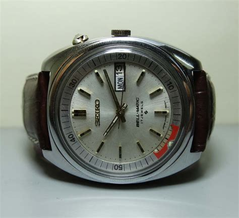 Bell Matic Silver Leather by Vintage Seiko Bellmatic Alarm Automatic Day Date 202255