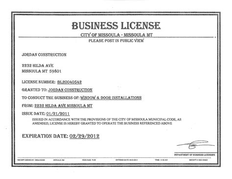 What Is A Business License Used For Free Business License Template