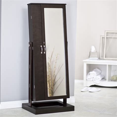 Standing Mirror With Jewelry Cabinet by Belham Living Bordeaux Locking Cheval Mirror Jewelry