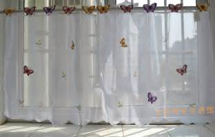 Small butterfly sheer curtain white kitchen curtain window valance 3