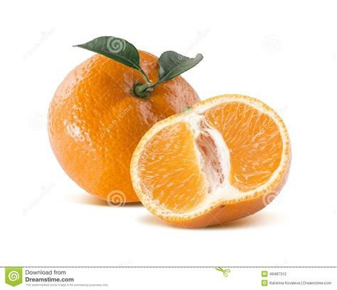 Hiltons Time Cut In Half by Mandarin Tangerine And Cut Half On White Background Stock