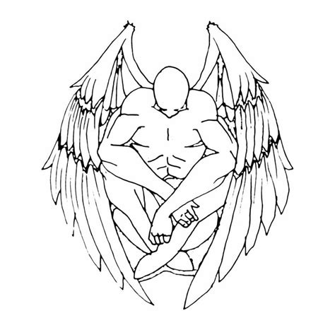 tattoo angel outline angel tattoo outline www imgkid com the image kid has it