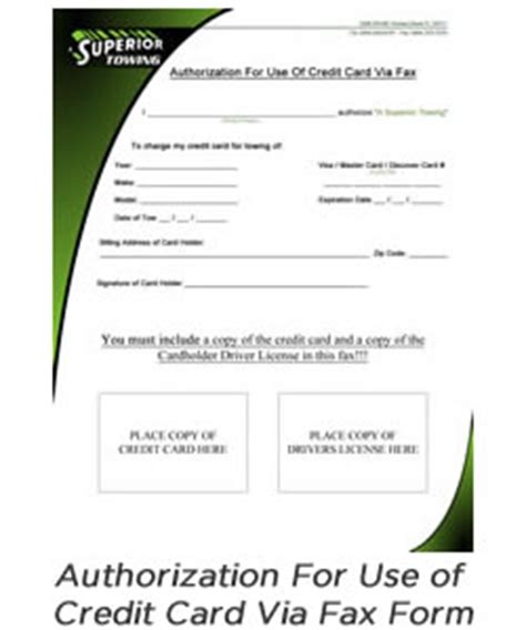 Customer Credit Card Authorization Form Template Customer Forms A Superior Towing Company For Superior Towing Services In Florida Incident
