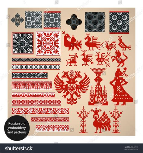 russian pattern vector russian old embroidery and patterns vector illustration
