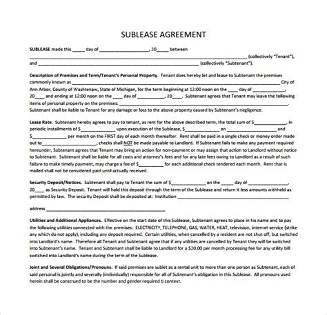 23 Sle Free Sublease Agreement Templates To Download Sle Templates Commercial Sublease Agreement Template Free