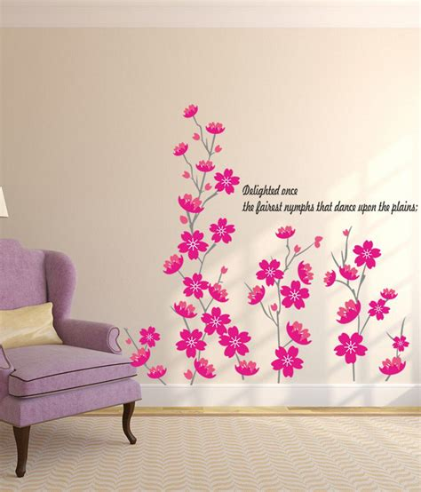 Wall Sticker 60x90 Glow I stickerskart pink flowers in self adhesive beautiful for home skirting border decal wall