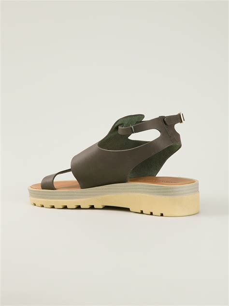 see by sandals see by chlo 233 chunky sole flat sandals in gray lyst