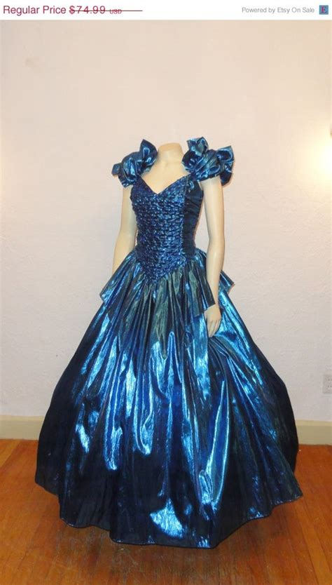 Dress Azum sale vintage gown metallic blue 70s 80s prom dress