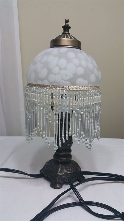 crystal bead table l pr vintage french italian crystal glass beaded bell shaped