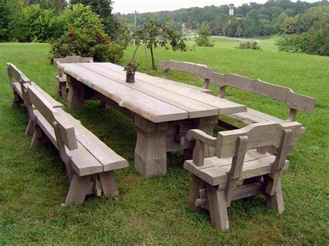 Wood Patio Dining Set With Benches   Dining room ideas