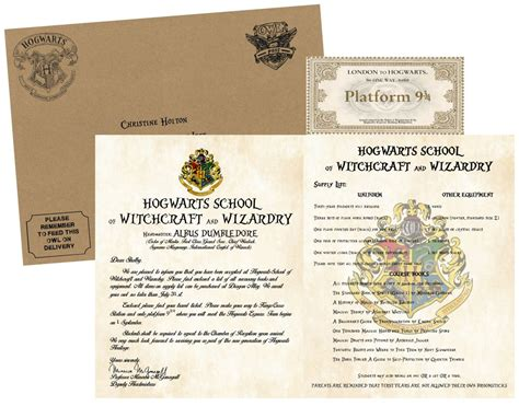 Hogwarts Acceptance Letter With Your Name personalized harry potter acceptance letter with kraft