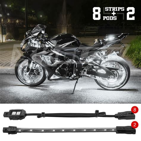 Led Light Strips Motorcycle Led 8 Pod 2 Motorcycle Atv Boat Utv Car Neon Accent Light Kit White Ebay
