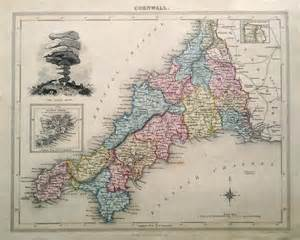 antique map of cornwall by fisher 1832