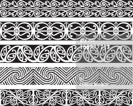 maori kowhaiwhai seamless design patterns in black