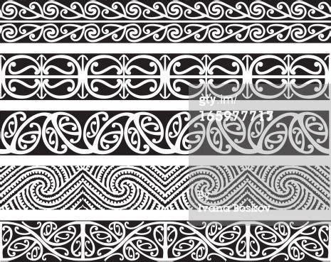 maori kowhaiwhai seamless design patterns in black