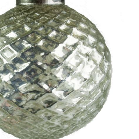 Quilted Glass by Silver Quilted Glass Cap Bauble 7 5cm Baubletimeuk