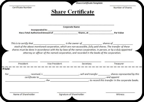 Free Share Certificate Template   Free Word's Templates