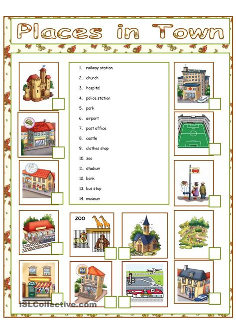 shops in my town worksheet free esl printable worksheets places in town english pinterest english worksheets